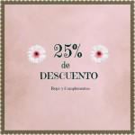 25% de descuento en toda la ropa y complementos